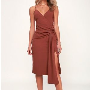Washed Burgundy Knot Front Midi Dress